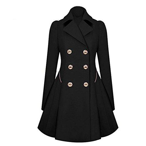 Kolylong® Frau Slim Windjacke Jacke Doppel-breasted Revers dünn war dünne Mantelmanteljacke Frau warmer Mantel (S, Schwarz) (Breasted Mantel)