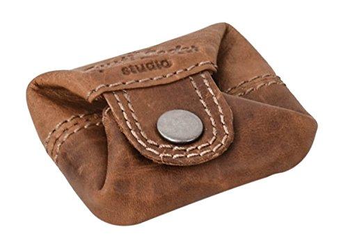 """Monedero Gusti Cuero studio """"Linus"""" Cartera Pequeña de Cuero Porta Monedas Retro Vintage Marrón Claro 2A139-22-5"""