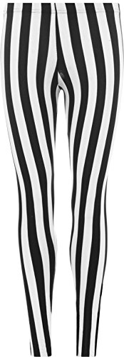 WearAll - Damen schwarz Streifen Leggings - Schwarz - 48 bis - Schwarz Und Weiß Gestreifte Kostüm
