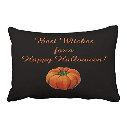 ge Fashion Happy Halloween Best Witches Simple Pumpkin Pattern 20x30 Inch Rectangle Throw Pillow Covers with Hidden Zipper Home Sofa Cushion Decorative Pillowcases ()