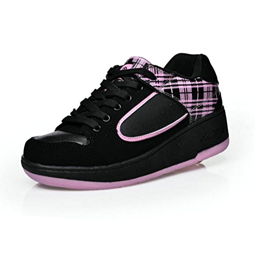 Skate-sapatos, Rolar Com Dobra, Apropriado Para Meninos E Meninas Rosa Negra