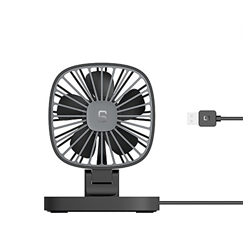 SHE.White Auto Haushalt Mini Ventilator Unterlage Quadrat Tischventilator angetrieben USB & Akku, perfekter persönlicher Fan Lüfter Geräuscharm sehr leiser Betrieb