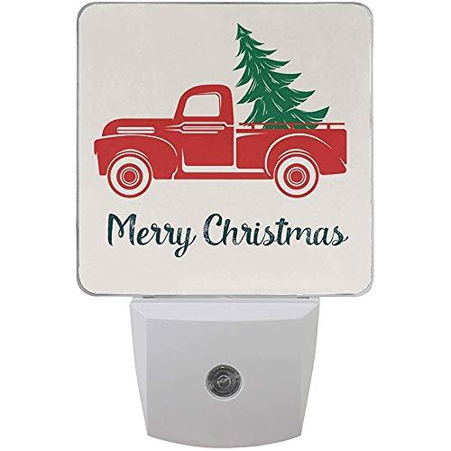 Baum Red Truck Nachtlicht Plug In Set von 2 Jungen Mädchen Babys, Winter Schneeflocke Nachtlichter Autoative
