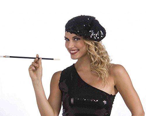 Französisches Barett mit schwarzen Pailletten Baskenmütze Damen Mütze Französin - Französisches Barett Kostüm