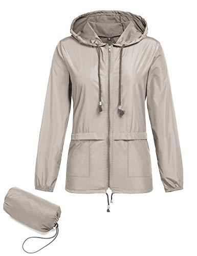 Regenjacke Damen Leichte Jacke Dünne Sommerjacke Atmungsaktive Wasserdicht Winddicht Outdoorjacke Faltbar Funktionsjacke