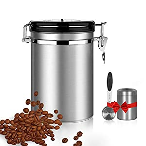 Shayson Boîte à café hermétique,Coffee Vault Hermétique de Conservation pour Café et de Toutes Ses Saveurs en,Acier Inoxydable avec la Capacité de Stockage à 18oz-avec Une cuillère et thé Peut