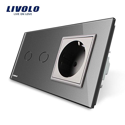 LIVOLO Grau Lichtschalter mit Steckdose mit LED Anzeige Licht Touch Sensor Panel aus Kristallglas, Schuko Schutzkontakt mit Kindersicherung Wandsteckdosen,VL-C702C1EU-15-A