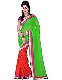Om Designer Half-Half Chiffon Women's Saree with Blouse Material (Green-Red)