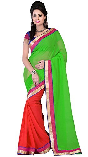 Om Designer Half-Half Chiffon Women's Saree with Blouse Material (Green-Red)  available at amazon for Rs.299