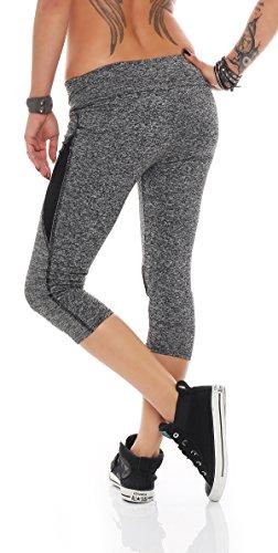 Fashion Design - Legging de sport - Femme Gris Gris EG7-7 schwarz