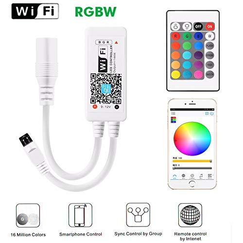 RGB Led Streifen Kontroller Mini Wifi Controller für LED Strip 16 Millionen Farbbeleuchtung 20 Dynamische Modi, mit Fernbedienung/Alexa/Android/IOS System gesteuert 5V-28V (LED Streifen)