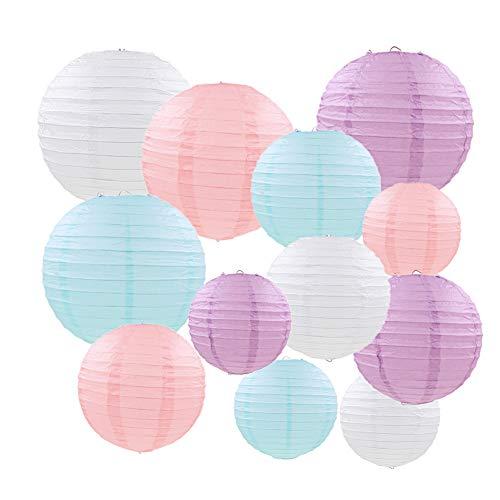 """Linternas de papel, 12 piezas Color pastel Pastel redondo Globo Decoraciones colgantes con tamaños variados para bodas Cumpleaños Fiesta de bienvenida al bebé Decoración para el hogar- 6""""8"""" 10"""""""