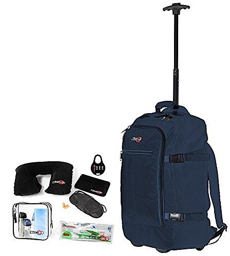 Cabin GO cod. MAX 5520 trolley - Zaino bagaglio a mano/cabina da viaggio leggero. - 55 x 40 x 20 cm, 44 litri - con ruote. Approvato volo IATA/EasyJet/Ryanair (Blu/Blu)