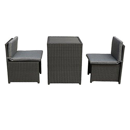 MACO Import Balkonmöbel Set platzsparende Box aus Stahl, PE-Rattan und Polywood in Schwarz