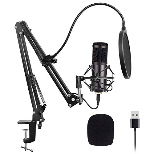 USB Kondensator Mikrofon Xpassion Plug & Play Aufnahme Microphone Podcast Mikrofon Set mit Einstellbare Faltbare Mikrofonständer Kit für Musik und Video aufnehmen Rundfunk Youtube Skype PC Karaoke