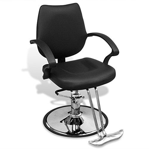 Vidaxl poltrona sedia da barbiere con pompa idraulica in pelle artificiale nera