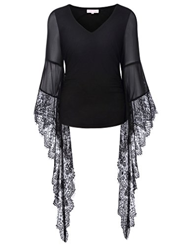Belle Poque Damen Steampunk Gothic Renaissance Gaze T-Shirt Bluse Schwarz XL BP349-1