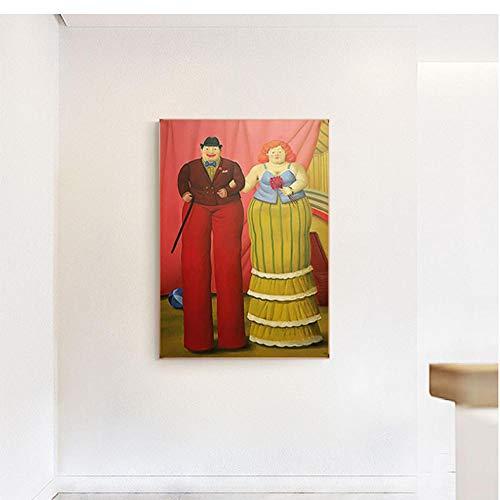 yyyyaa Leinwand Gemälde Exquisite Wandbehang Ölgemälde Zusammenfassung Fernando Botero auf Stelzenläufer Clown HD Druck Dekoration Wandkunst Dekor