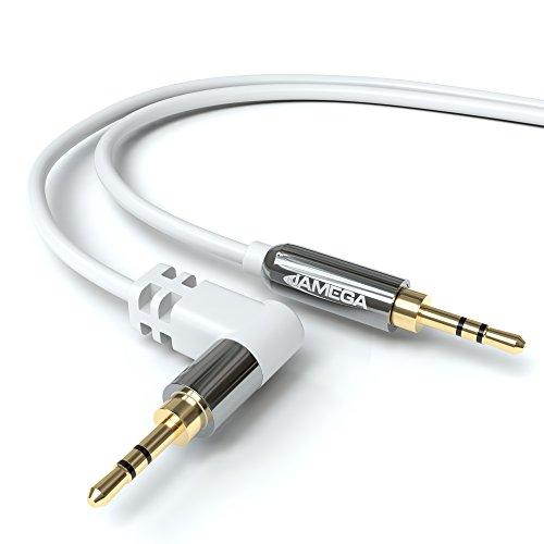 1,5m AUX Kabel 3,5mm Klinke 90° Abgewinkelt auf 3,5mm Klinkenstecker in Weiß - von JAMEGA