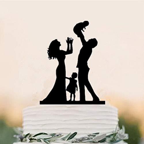 """'Elegante de sihlouette """"cónyuges para tarta con niños de acrílico, completa con laser tallado"""