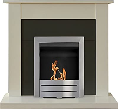 Adam Sutton Fireplace Suite in Cream with Colorado Bio Ethanol Fire in Brushed Steel, 43 Inch