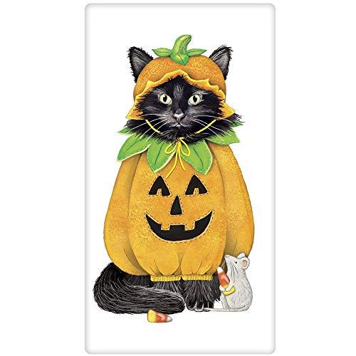 Mary Lake-Thompson Katzen-Halloween-Kürbis geeinsackter Handtuch 30x30 Mehrfarbig