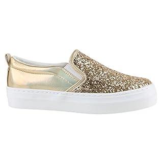 Damen Sneakers Sneaker Slip-Ons Plateau Slipper Plateau Strass Neon Blumen Flats Animal Prints Freizeit Schuhe 142155 Gold 37 Flandell Wm34rOGuH
