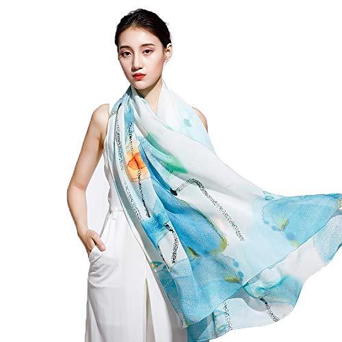 Serie Color Inkjet (LSX-Schals Schal professionelles Design Muster Chiffon Schal weiblichen Seidenschal Künstler Seide Serie Scarves (Color : #1))