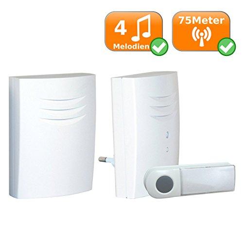 SET Portable Wireless Türklingel Funkklingel | kabellose Funk-Klingel Haustür-Büro-Werkstatt Klingel | bis 75m | 4x Melodien