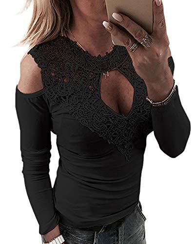 YOINS Sexy Schulterfrei Oberteil Damen Off Shoulder Top Bluse mit Spitze Langarm Spitzenbluse Mode Patchwork Tshirt Bluseshirt Sexy-schwarz EU36-38