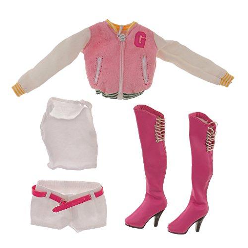(1/6 Puppen Baseball-Mantel Weste Hose Mit Stiefeln Für Action-Figur Kleidung - Rosa, /)