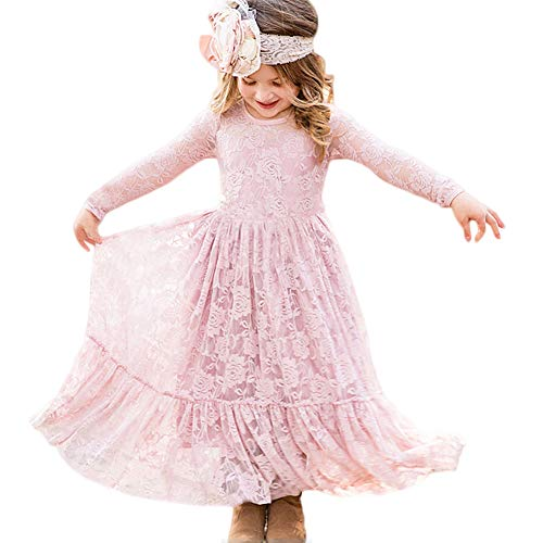 CQDY Prinzessin Spitzenkleid für Mädchen Weiß Hochzeit Blumen Kleid Partykleid mit großen Bogen (6-7 Jahre(120cm), Rosa)