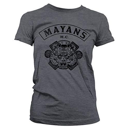 Mayans M.C. Offizielles Lizenzprodukt Kutte Damen T-Shirt (Dunkel Heather), Medium -