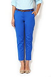 Allen Solly Womens Slim Pants (AWPN316B00325_Medium Blue Solid_28)