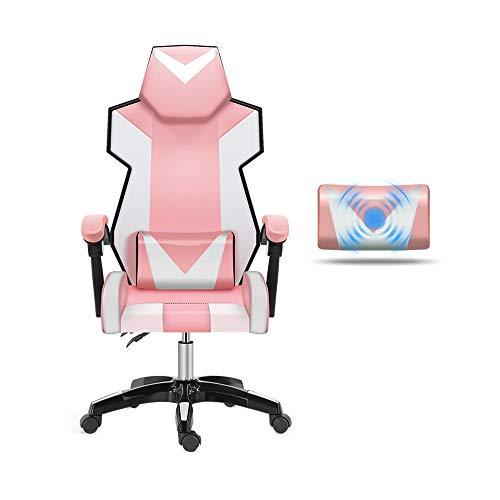 Bseack Drehstuhl Gaming Chair, Verstellbarer Rückenlehne aus PU-Leder mit Massage-Lordosenstütze (Farbe : Nylon feet) -