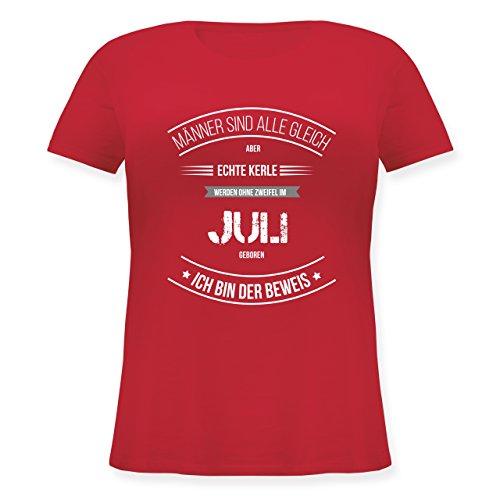 Geburtstag - Echte Kerle Werden IM Juli Geboren - Lockeres Damen-Shirt in Großen Größen mit Rundhalsausschnitt Rot