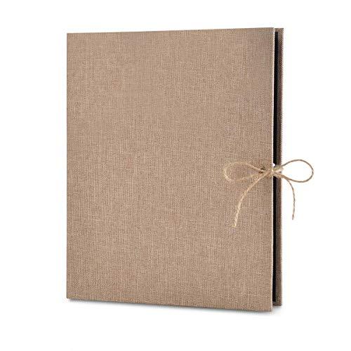 EXQULEG DIY Fotoalbum, Schwarze Seiten Fotoalben Scrapbook zum Einkleben, Leinen Nachfüllbar Fotobuch Retro Gästebuch Album (Gebrochenes Weiß) -