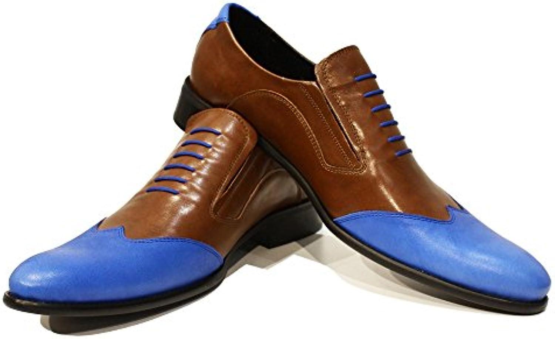 Modello Ronemo - Handmade Italiano da Uomo in Pelle Blu Mocassini e Slip-on - Vacchetta Pelle Morbido - Scivolare su | In Uso Durevole  | Uomini/Donna Scarpa