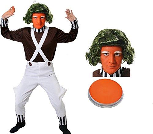 ILOVEFANCYDRESS SCHOKOLADENFABRIK Arbeiter ARBEITERIN = UMPA Lumpa=VERKLEIDUNG KOSTÜME BEINHALTED=TRÄGERHOSE + BRAUNES Oberteil +GRÜNE PERÜCKE +AUGENBRAUEN + Oranges Make UP= PERFEKT Unisex=XLarge