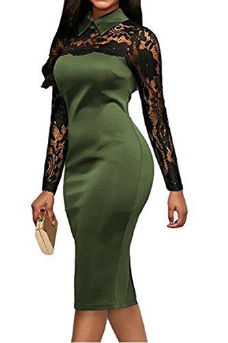 YACUN Le Donne Cocktail Matita Ufficio Manica Lunga Patch Vestito Di Pizzo Armygreen