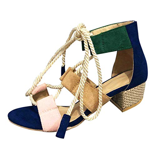 Geilisungren Sandalen Damen Sommer Sandaletten mit Mittelhoher Blockabsatz Frauen Mode Cross Straps Party Hochzeit Abendschuhe Bunt Peep Toe Absatzschuhe Sandals - Boot Western Toppers