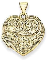 14k Scrolled Love you always Heart Locket by UKGems