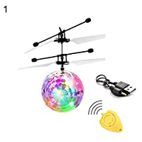 MAJGLGE Kids Mini IR Sensing RC Helicopter Aircraft Flying Ball Toys Built-in LED Light - 1#