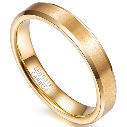 Nuncad Bague Femme 4mm Comfort Fit Design, Plaqué Or, Anneau Tungstène Mariage, Engagement Partenariat, Taille 57