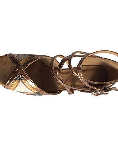 ShangYi Chaussures de danse(Marron) -Personnalisables-Talon Aiguille-Similicuir-Latine Tan