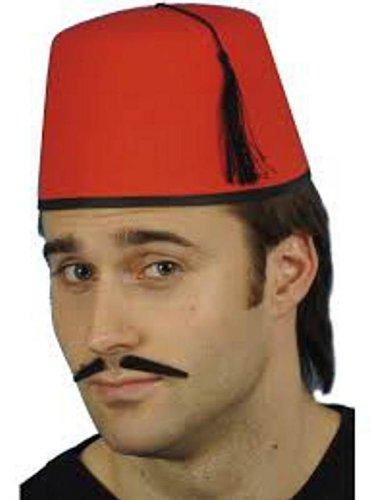 Rote Kostüm Fez (Herren Damen, Rot, FEZ Tommy Cooper türkischen,)