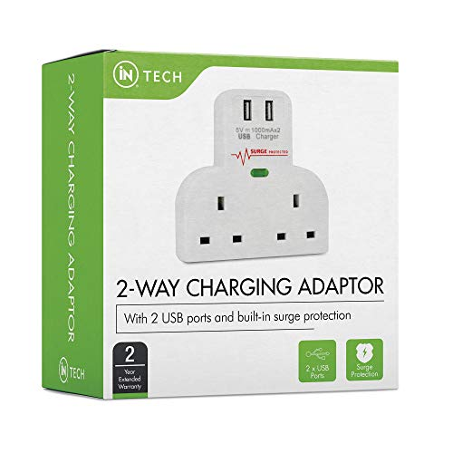 iN TECH 2-Way Plug 2 USB Port Adaptor for TV, Desk, Home and Office with Surge Protector, Over Current Protection, Short Circuit Protection Adapter for Smart Phones, iPhones, Samsung, iPads, Tablets
