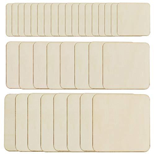 Cuadrados madera blanco sin terminar 42 piezas, 3