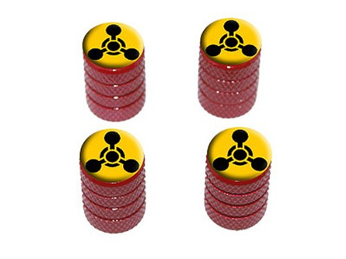 Preisvergleich Produktbild Graphics and More Chemisches Symbol – Chemische Waffe – Schwarz auf Gelb – Reifen Reifen Reifen Felgen Ventilkappen – Rot