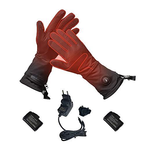 Beheizte Handschuhe Innen für Herren und Damen mit 7.4V 2200 mAh Batterien, Beheizbare Handschuhe Schwarz mit 3 Stufen Temperaturregler für Winterski, Angeln, Eislaufen, Jagd, Walking Größe S
